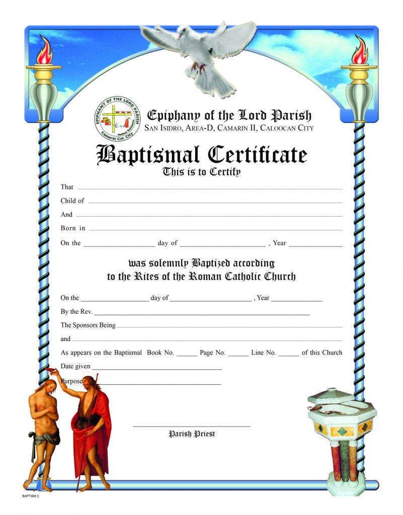 Baptismal Certificate No 2 Sons Of Holy Mary Immaculate