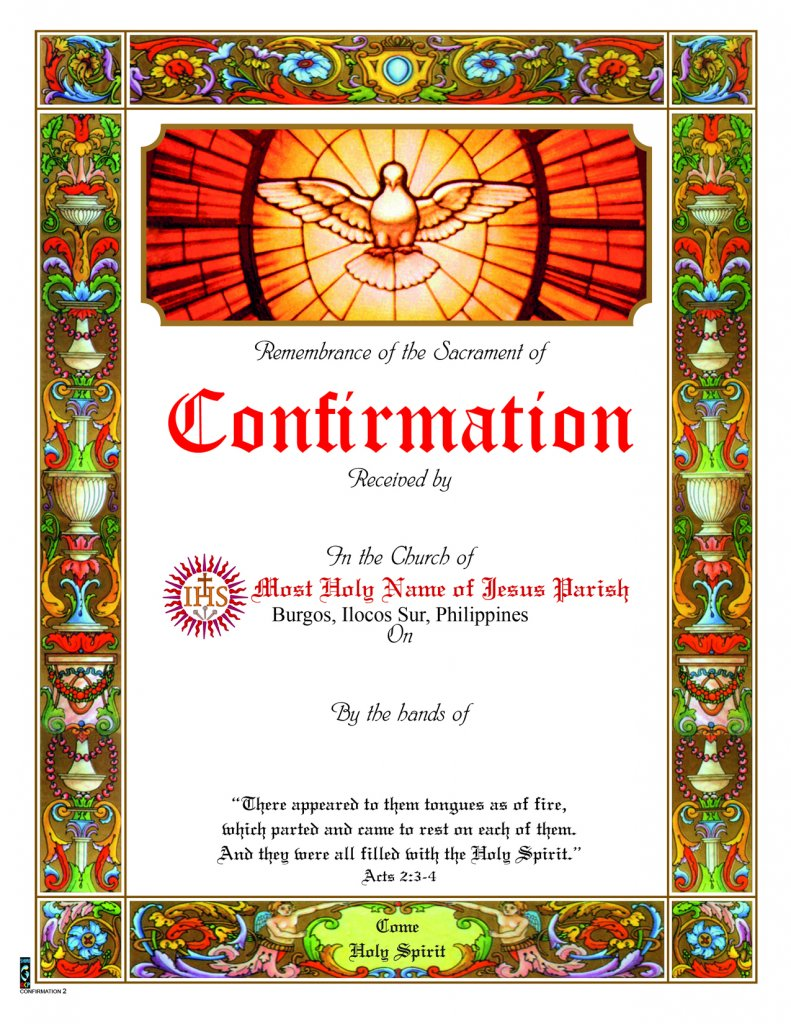 Confirmation Certificate No 2 Sons Of Holy Mary Immaculate